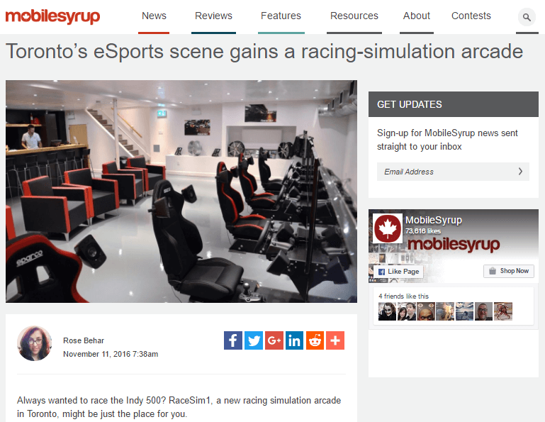 RaceSim1 Article on Mobile Syrup