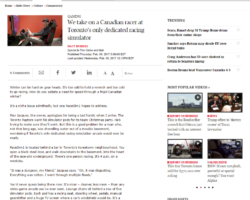 RaceSim1 and Kyle Marcelli in the Globe and Mail