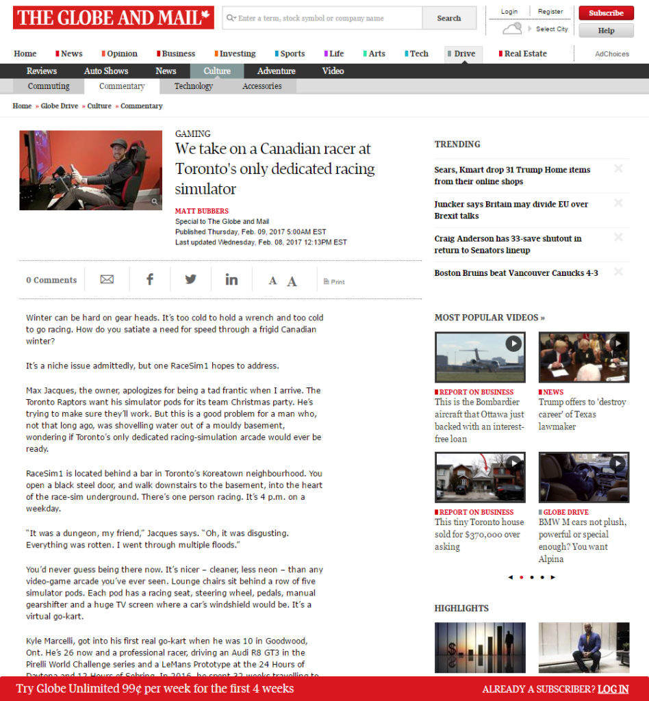 The Globe and Mail RaceSim1 Article Screenshot