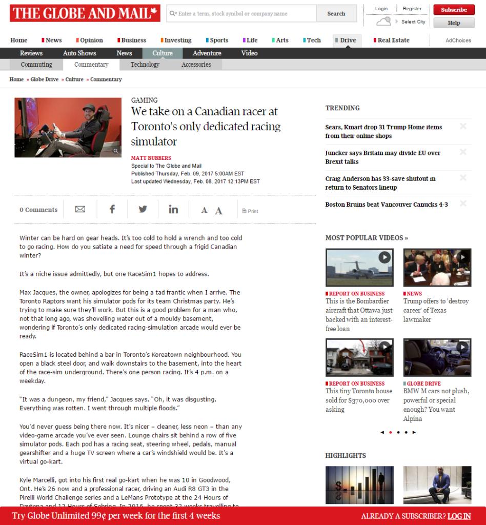 The Globe and Mail RaceSim1 Article Screenshot