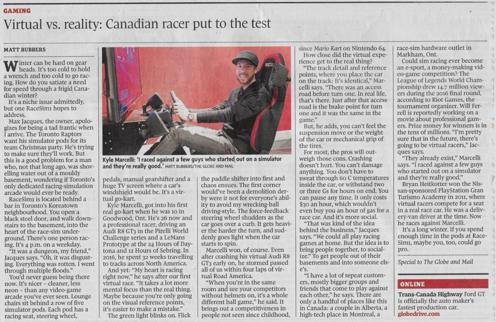 The Globe and Mail RaceSim1 Newspaper Article Scan
