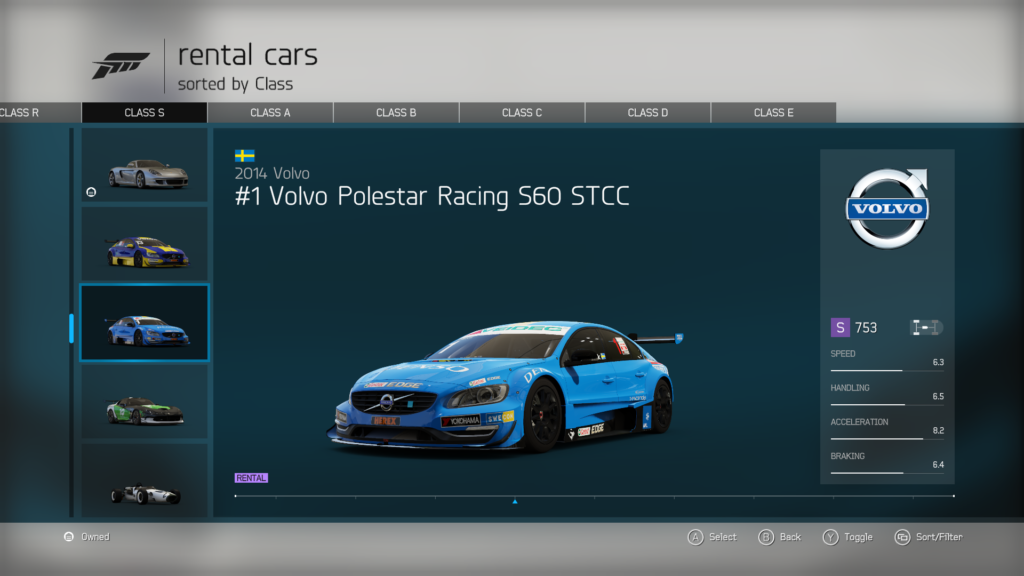 RaceSim1 - Forza - Volvo Polestar S60 STCC - Car Screenshot