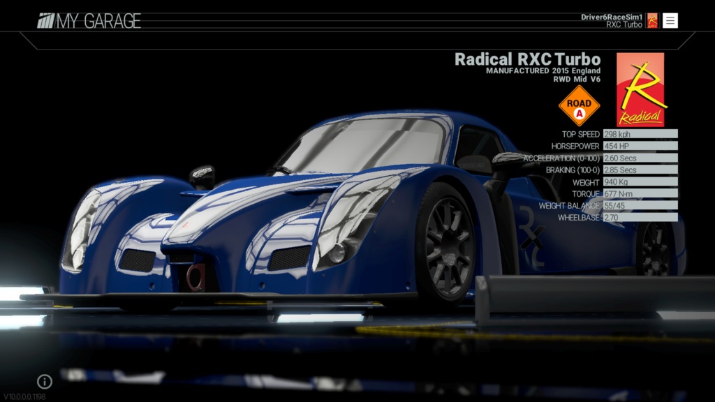 RaceSim1 - Project CARS - Radical RXC Turbo - Car Screenshot