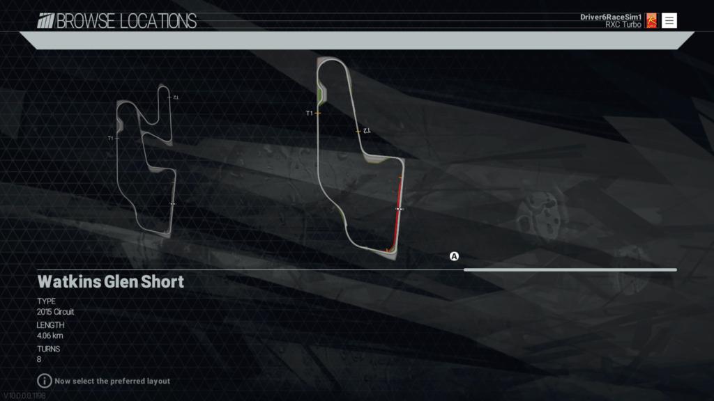 RaceSim1 - Project CARS - Watkins Glen Short - Track Screenshot