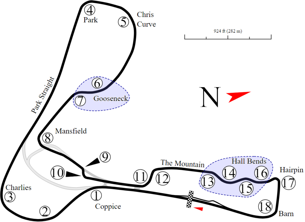 RaceSim1 Cadwell GP Circuit Diagram from Wikipedia