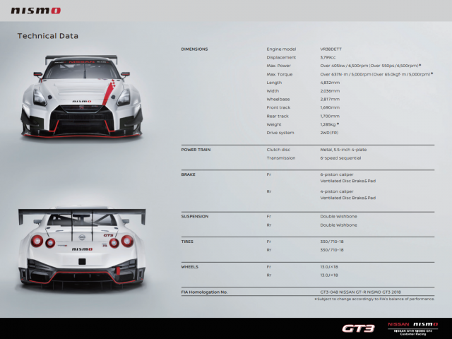 Nissan GT-R GT3 Spec 2018 Model Year Specs